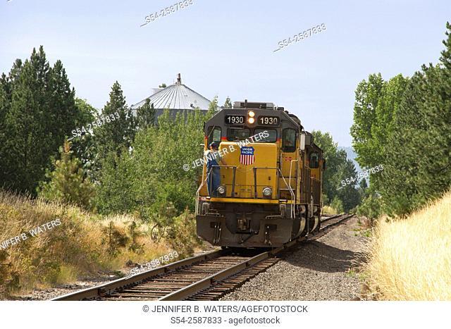A Union Pacific train running light near Freeman, Washington State, USA