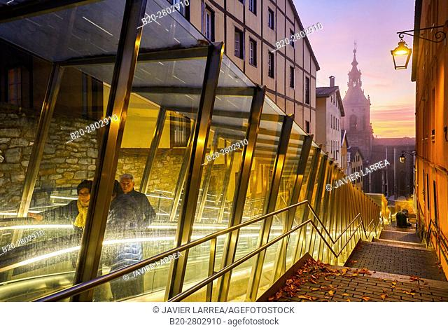 Moving walkway connecting old town with the city, San Pedro Apostol church in background, Vitoria-Gasteiz, Araba, Basque Country, Spain, Europe