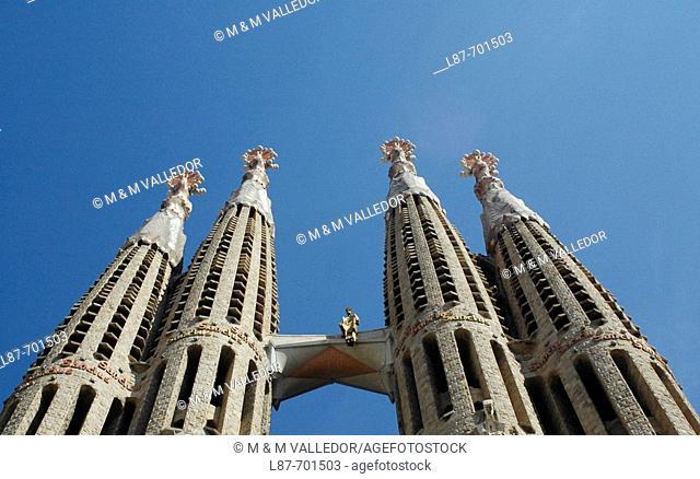Sagrada Familia church towers, Barcelona. Catalonia, Spain