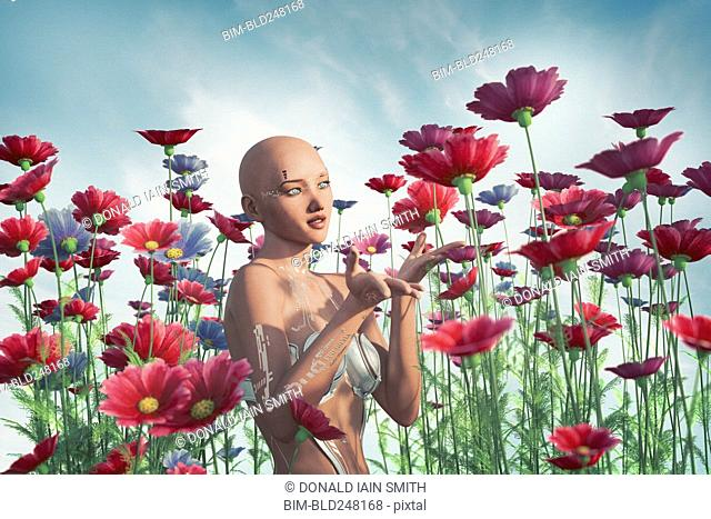 Cyborg woman enjoying flowers