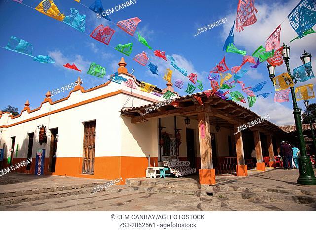 Street scene from the historic center of San Cristobal de las Casas, Chiapas Region, Mexico, Central America