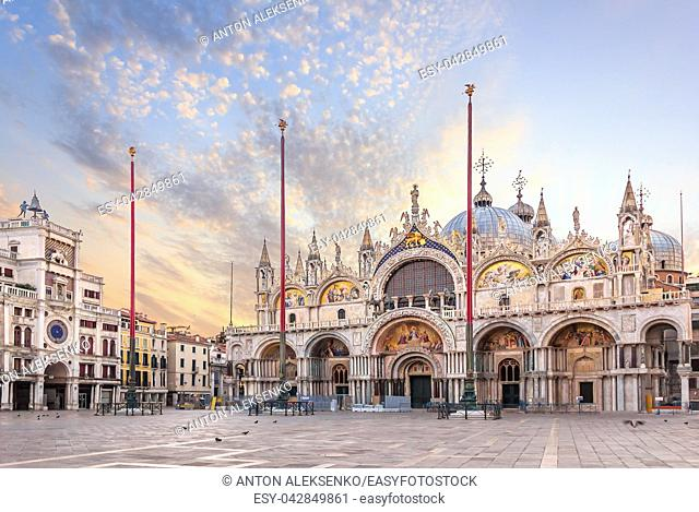 Basilica San Marco and the Clocktower in Piazza San Marco, morning view