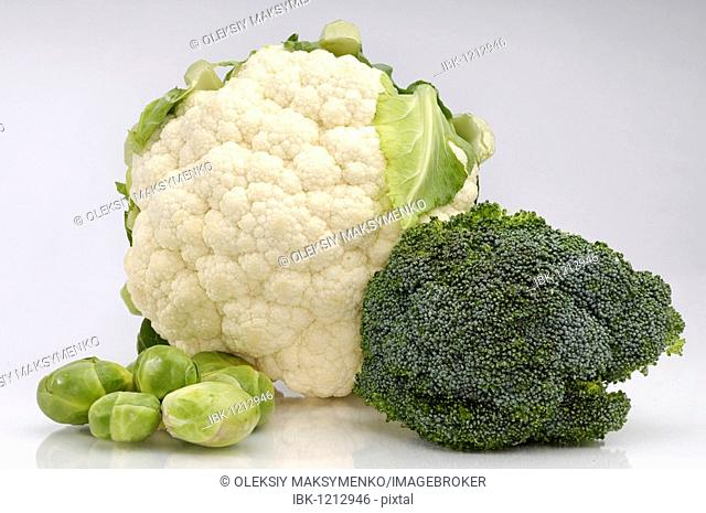 Cauliflower, broccoli and brussels sprouts