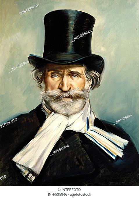 Verdi, Giuseppe, 10 10 1813 - 27 1 1901, Italian composer, portrait, painitng by Giovanni Boldini, copy circa 1890, private collection, Italy, 19th century