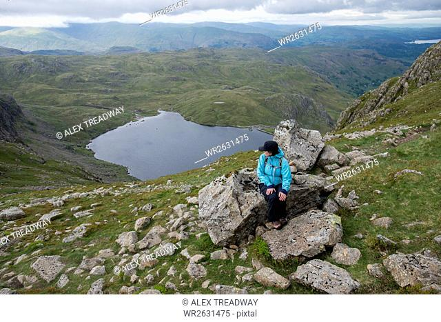 Looking down on Stickle Tarn near Great Langdale in the Lake District, Cumbria, England, United Kingdom, Europe
