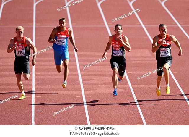 Arthur Abele (l-r) of Germany, Sergey Sviridov of Russia, Kai Kazmirek and Rico Freimuth of Germany compete in 100m race of the decathlon competition at the...
