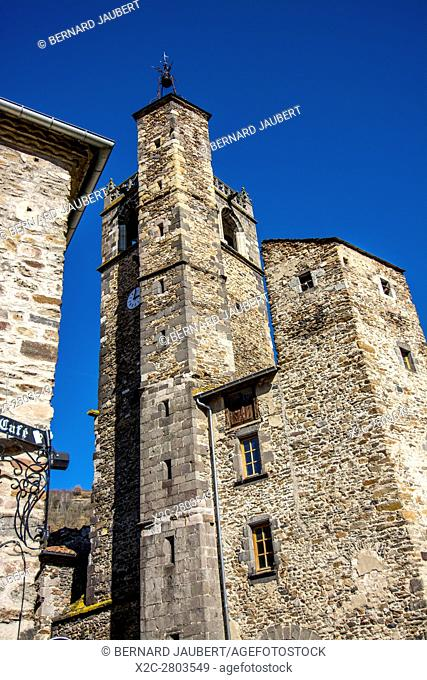 Village of Blesle, labelled Les Plus Beaux Villages de France Ancient belle tower of Church Saint Martin. Haut-Loire. Auvergne. France