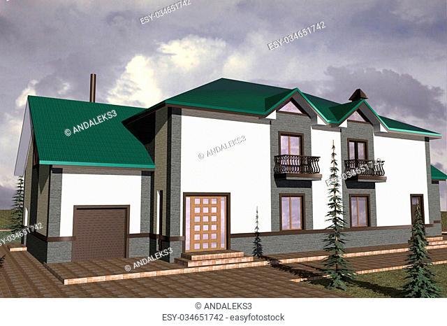 Facades storey residential building constructed in traditional style with modern elements
