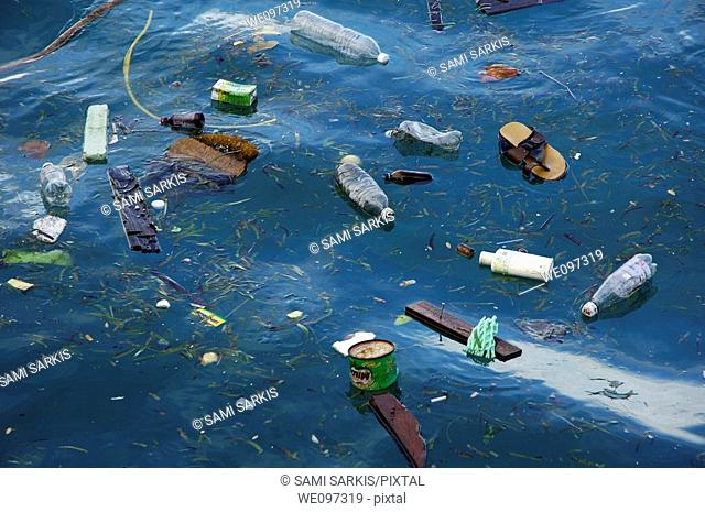 Plastic bottles and rubbish floating in the sea, Maldives