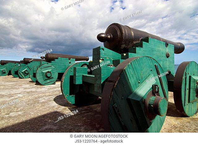 Row of cannons, Fort Christiansvaern, Christiansted National Historic Site, St Croix, US Virgin Islands