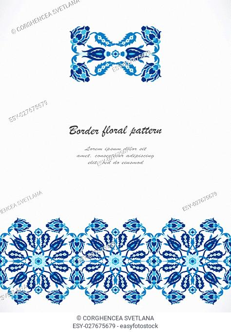 Arabesque lace damask seamless border floral decoration print for design template vector. Eastern style pattern. Ornamental illustration for invitation