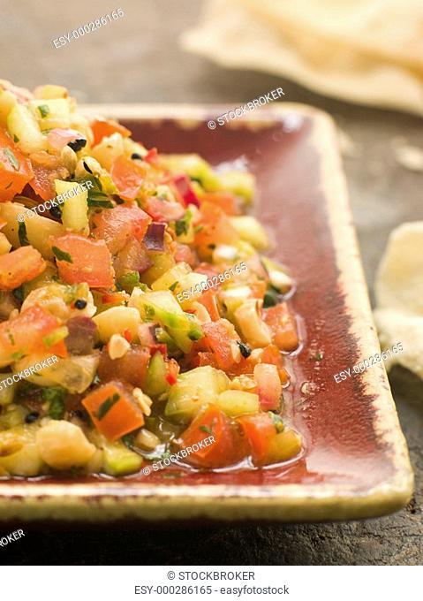 Dish of Cucumber with Papadoms