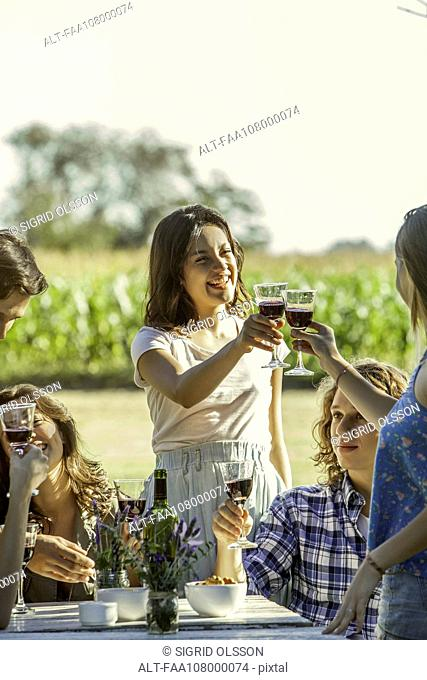 Friends clinking glasses while enjoying wine outdoors