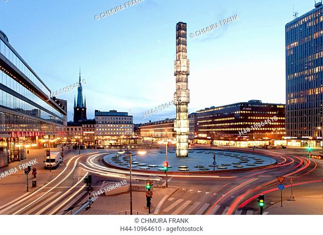 Sweden, Stockholm, architecture, building, city, column, crystal, dusk, Europe, evening, exterior, glass, illuminated, kulturhuset, landmark, light, night