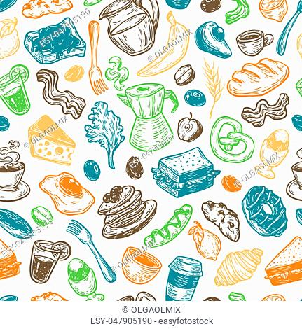 Hand drawn pattern with breakfast and morning elements. Vector breakfast food, meal and drinks. Eggs, bacon, coffee, sweets, fruits and vegetables