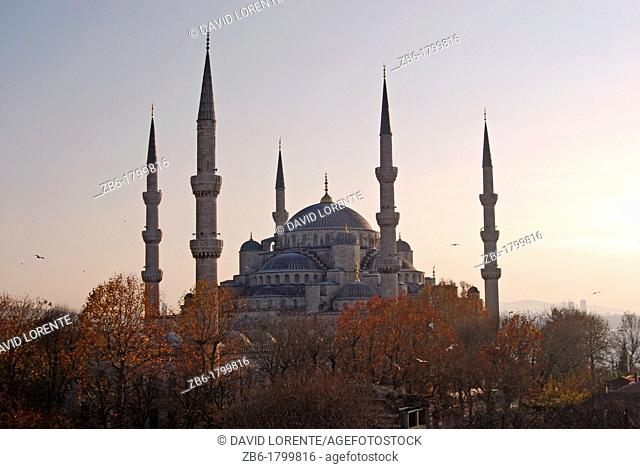 Blue Mosque in Istanbul a sunrise cloudy