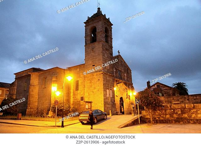 The historical and monumental center of the capital of Albarino wine, Cambados, Fefinanes Square. San Benito church by night