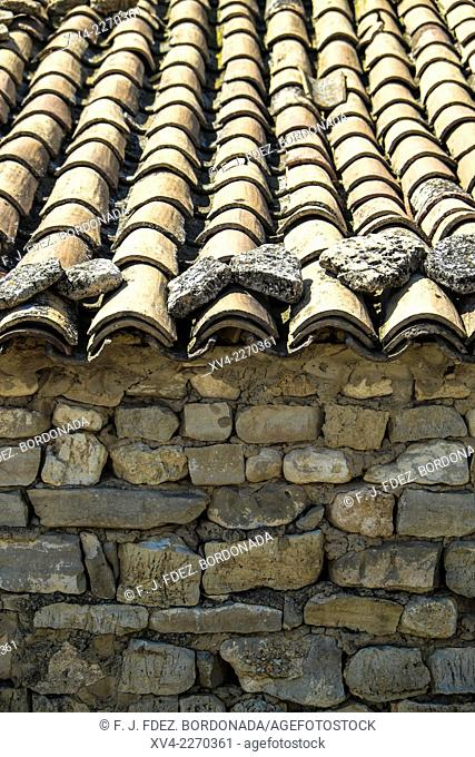 Old countryside house. A tipycal building with stone walls. Monegros, Aragón, Spain
