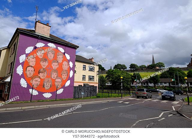 Wall murals painted by the Bogside Artists in the Bogside area of Derry, County Londonderry, Northern Ireland