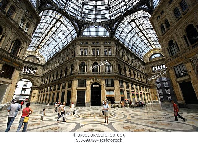 The interior view of Galleria Umberto shopping arcade. Naples. Campania. Italy