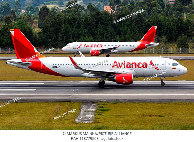 Medellin, Colombia – January 27, 2019: Avianca Airbus A320 airplane at Medellin airport (MDE) in Colombia. | usage worldwide. - Medellin/Colombia