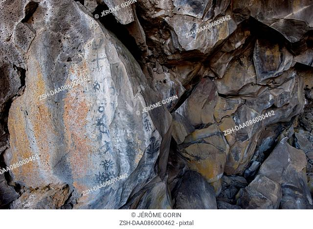 Cave paintings in lava tube cave, Lava Beds National Monument, California, USA