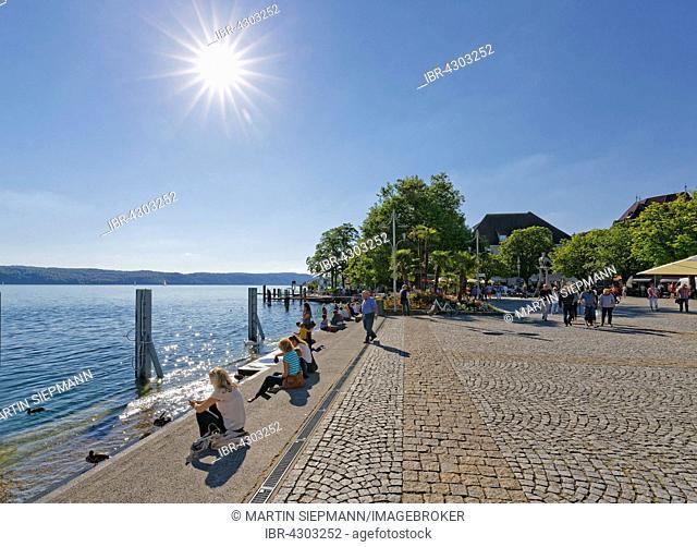 Promenade at Lake Constance, Überlingen, Bodenseekreis, Upper Swabia, Baden-Württemberg, Germany
