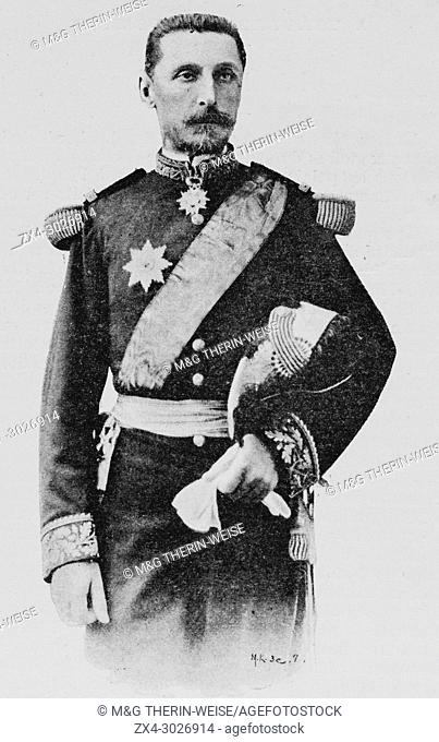 Portrait of Admiral Gervais during the Naval Review in Cherbourg Harbour, Picture from the French weekly newspaper l'Illustration, 21th July 1900