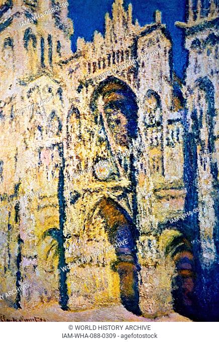 Painting titled 'Rouen Cathedral' by Claude Monet (1840-1926) a French painter and founders of impressionism. Dated 19th Century