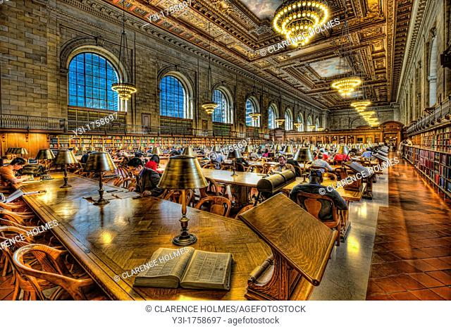 The Rose Main Reading Room in the main branch of the New York Public Library on 5th Avenue and 42nd Street in New York City, New York, USA