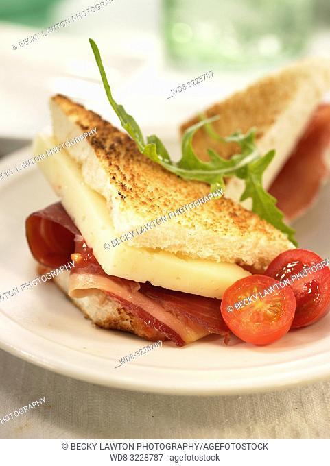 Mini de jamon iberico, queso manchego y tomate