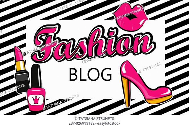 Template for fashion blog with stylish patch badges with lips, . Set of fashion stickers, icons, patches in 80s-90s comic cartoon style