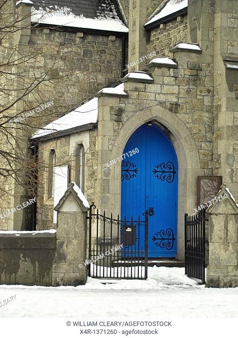 The blue doorway of the Methodist Church in Clontarf, Dublin, Ireland