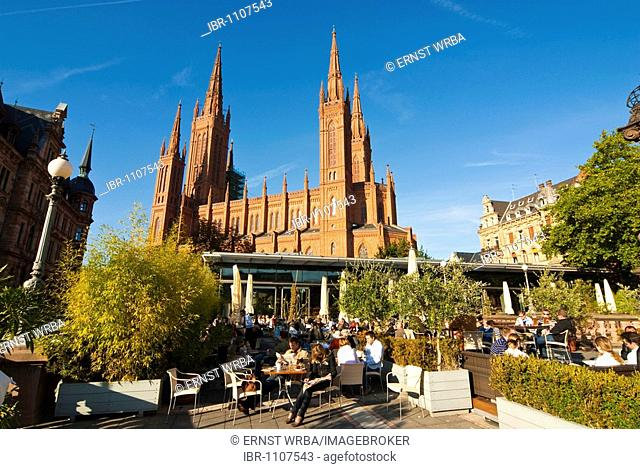Café and restaurant Lumen, church Marktkirche, Wiesbaden, Hesse, Germany