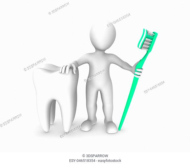 3d white man with big tooth and toothbrush with toothpaste. 3d rendered illustration with small people