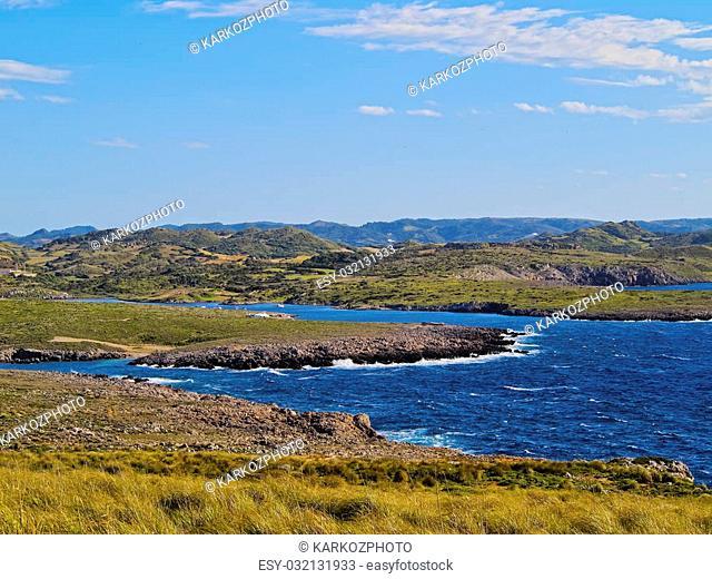 Landscape of Cap de Cavalleria on Menorca, Balearic Islands, Spain