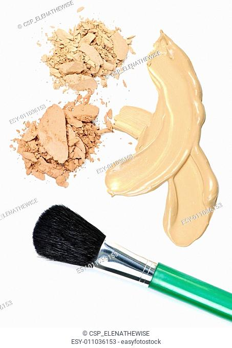 Powder and foundation makeup with brush