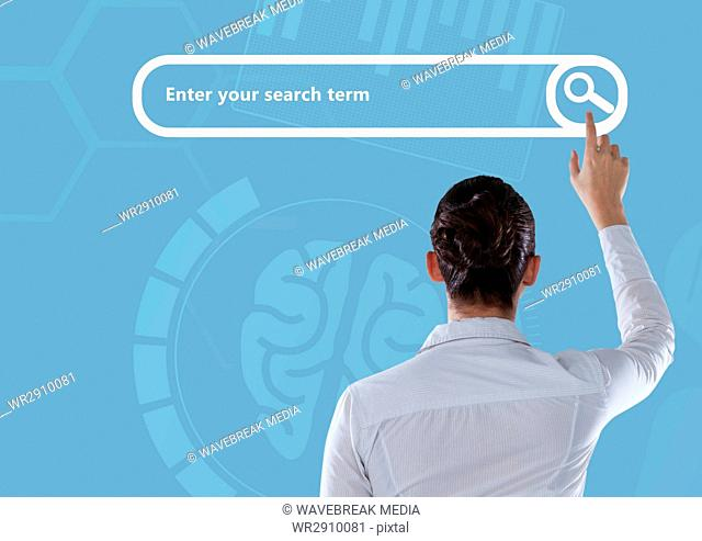 Woman touching Search Bar with blue brain background