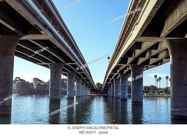 Ingraham Street Bridge and Mission Bay. San Diego, California, USA