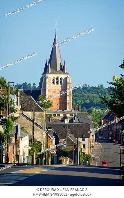 France, Aisne, Vervins, village and Notre Dame church