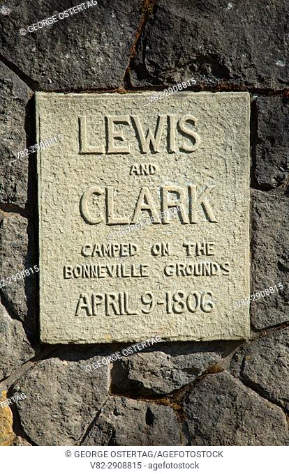 Lewis and Clark marker, Bonneville Fish Hatchery, Columbia River Gorge National Scenic Area, Oregon