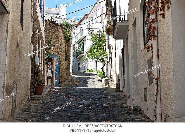Narrow streets in the town of Cadaques, Girona, Spain