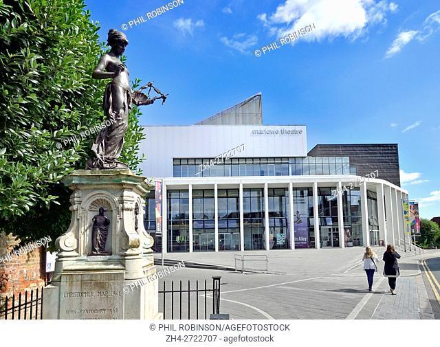 Canterbury, Kent, UK. Marlow Theatre (1984; rebuilt 2011) in The Friars. Christopher Marlow memorial (left)