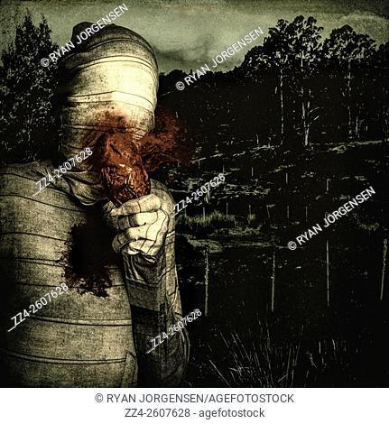 Dark horror portrait of a b-grade mummy eating blood splattered heart. Dead hearts, black souls