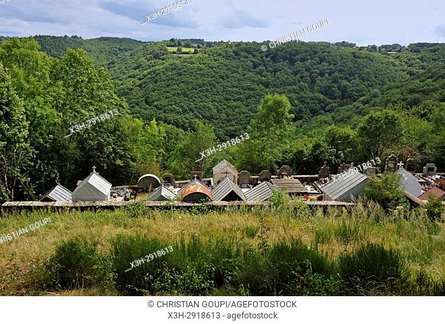 cemetery of Queuille on the plateau of Combrailles, Puy-de-Dome department, Auvergne-Rhone-Alpes region, France, Europe