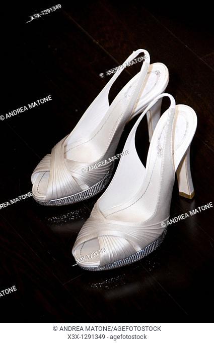 Bridal wedding shoes indoors