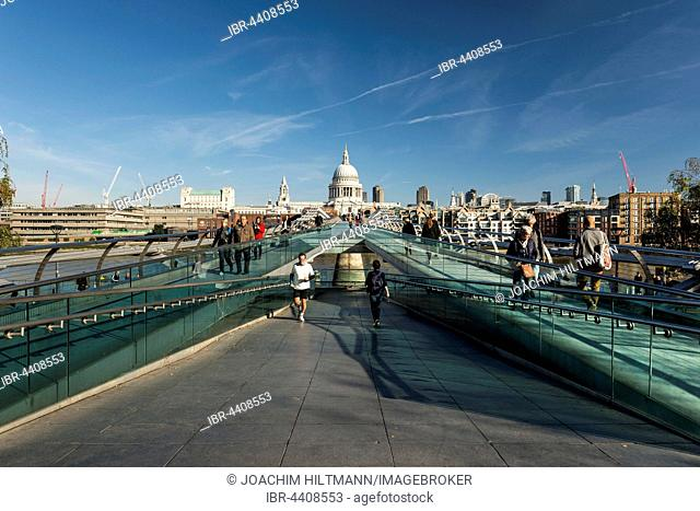 Millennium Bridge and St Paul's Cathedral, London, England, United Kingdom