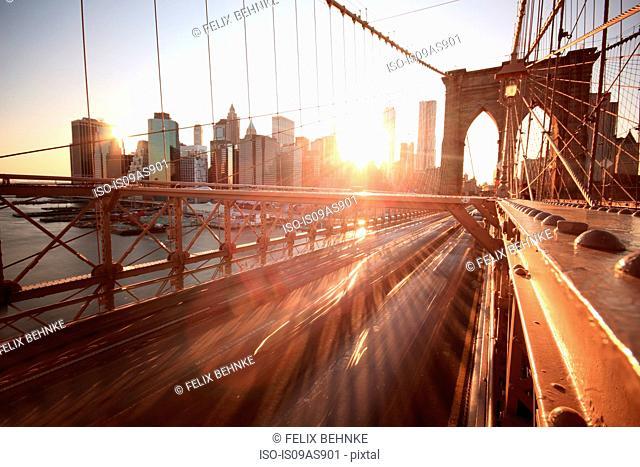 Cityscape and Brooklyn Bridge, Manhattan, New York City, USA