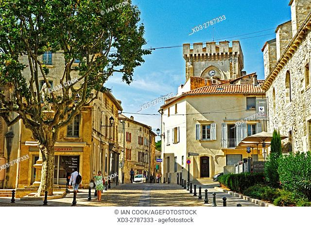 street scene, Villeneuve-lez-Avignon, Vaucluse Department, Provence, France