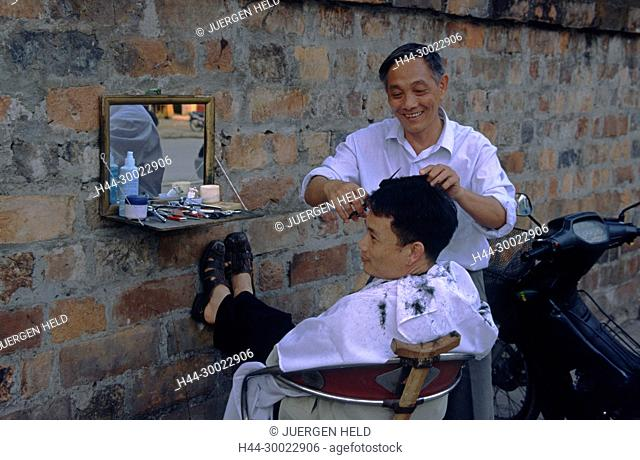 Hanoi open air barber shop